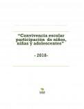 """""""Convivencia escolar participación  de niños, niñas y adolescentes""""                                           - 2018-"""